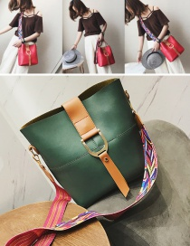 Fashion Green Colored Ribbon Decorated Shoulder Bag(2pcs)