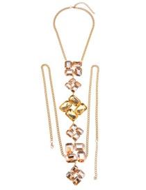 Fashion Champagne Diamond Decorated Simple Body Chain