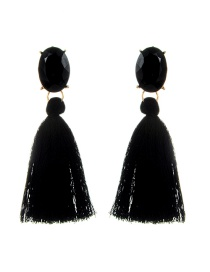 Fashion Black Oval Shape Decorated Tassel Earrings