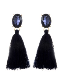 Fashion Navy Oval Shape Decorated Tassel Earrings