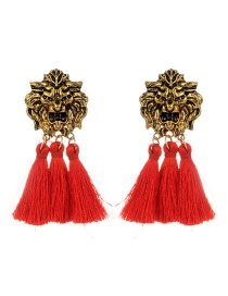 Personality Red Lion Shape Decorated Tassel Earrings