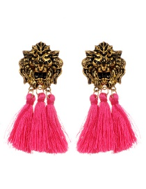 Personality Plum-red Lion Shape Decorated Tassel Earrings