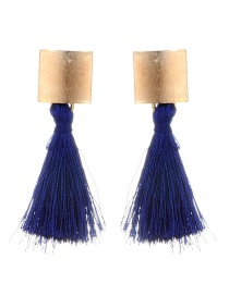 Fashion Sapphire Blue Square Shape Decorated Tassel Earrings