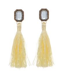 Bohemia Light Yellow Square Diamond Decorated Tassel Earrings
