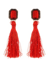 Bohemia Red Square Diamond Decorated Tassel Earrings
