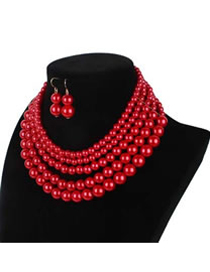 Elegant Red Pure Color Decorated Multilayer Jewelry Sets