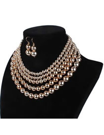 Vintage Gold Color Pure Color Decorated Multilayer Jewelry Sets