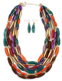 Exaggerate Multi-color Color-matching Decorated Multilayer Jewelry Sets