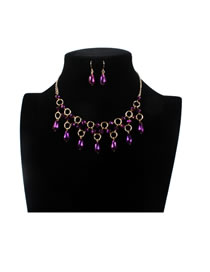 Elegant Purple Oval Shape Decorated Hollow Out Jewelry Sets