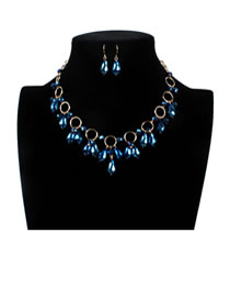 Elegant Blue Oval Shape Decorated Hollow Out Jewelry Sets