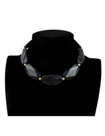 Exaggerate Black Stone Shape Decorated Necklace