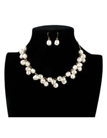 Vintage White Pure Color Decorated Jewelry Sets