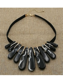Exaggerate Black Strip Shape Decorated Necklace