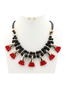 Elegant Red Fan Shape Decorated Jewelry Sets