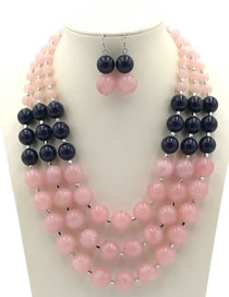 Exaggerate Pink Color-matching Decorated Jewelry Sets