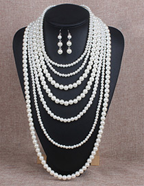 Exaggerate White Pure Color Decorated Multilayer Long Jewelry Sets