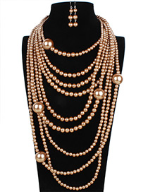 Exaggerate Gold Color Pure Color Decorated Multilayer Long Jewelry Sets