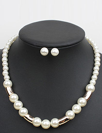 Elegant White Pure Color Decorated Short Chain Necklace