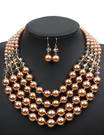 Elegant Gold Color Pure Color Decorated Short Chain Jewelry Sets