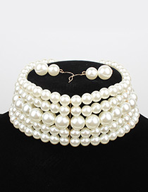 Elegant White Pure Color Decorated Multilayer Choker