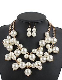 Exaggerate White Pure Color Decorated Double Layer Jewelry Sets