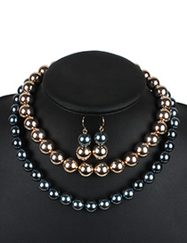 Fashion Gray Color-matching Decorated Double Layer Jewelry Sets