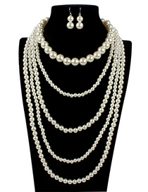 Retro White Chain Decorated Jewelry Sets