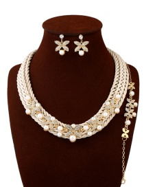 Fashion Beige Hand-woven Decorated Jewelry Sets