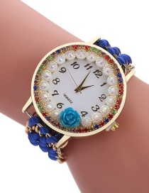 Fashion Sapphire Blue Diamond Decorated Flower Shape Pure Color Watch