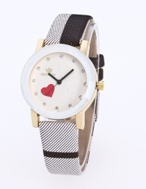 Fashion Black Grid Pattern Decorated Pure Color Watch