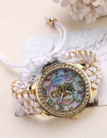 Fashion White Owl Pattern Decorated Pure Color Watch
