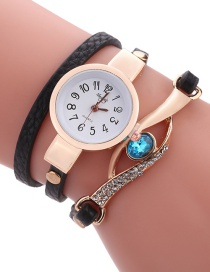 Fashion Black Diamond Decorated Round Dail Shape Simple Watch