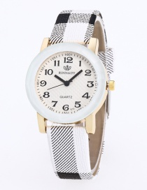 Fashion White Grid Pattern Decorated Pure Color Watch