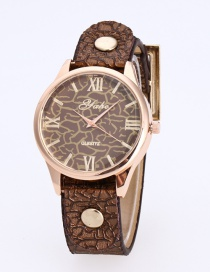 Fashion Brown Rivet Decorated Round Dail Pure Color Watch