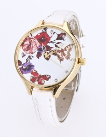 Fashion White Butterfly&flower Pattern Decorated Pure Color Watch