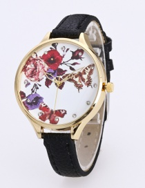 Fashion Black Butterfly&flower Pattern Decorated Pure Color Watch