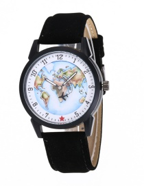 Fashion Black Map&plane Pattern Decorated Simple Watch