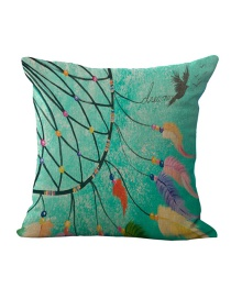 Fashion Green Feather Pattern Decorated Simple Pillowcase