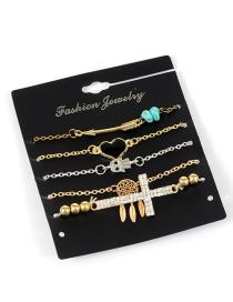 Fashion Gold Color Heart&cross Decorated Simple Bracelet (5 Pcs)