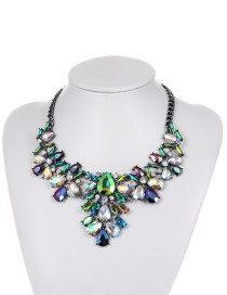Fashion Green Water Drop Shape Diamond Decorated Simple Necklace