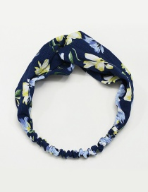 Fashion Dark Blue Flower Pattern Decorated Simple Hair Hoop