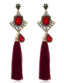 Fashion Red Diamond&tassel Decorated Pure Color Earrings