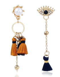 Fashion Multi-color Tassel Decorated Asymmetric Earrings