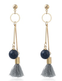 Fashion Gray Beads&tassel Decorated Long Earrings