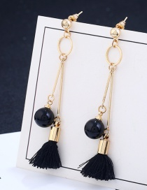 Fashion Black Beads&tassel Decorated Long Earrings