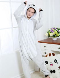 Fashion Light Gray Koala Shape Decorated Simple Nightgown