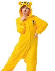 Fashion Yellow Discovery Kids Shape Decorated Simple Nightgown