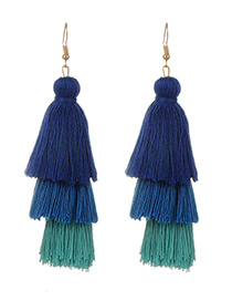 Fashion Green+blue Tassel Decorated Color Matching Earrings