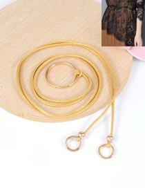 Fashion Gold Color Circular Ring Decorated Double Layer Waistband