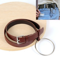 Fashion Coffee Big Circular Ring Decorated Pure Color Waistband